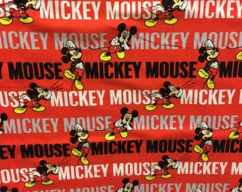 Disney red Mickey Mouse fabric, Disney fabric, Mickey fabric, kids fabric, cartoon fabric, Disney