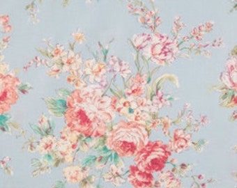 Light blue Shabby Chic style floral fabric, flower fabric, shabby fabric, cottage style, English style fabric, blue fabric