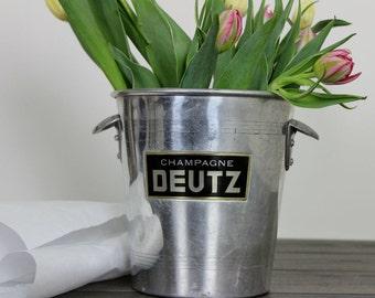 Vintage French Champagne Bucket,  Deutz Champagne Bucket, French Wine Cooler, Ice Bucket