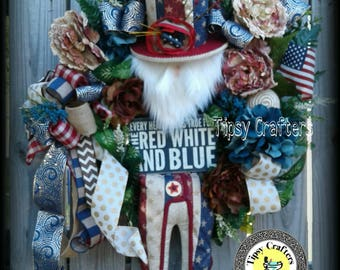Americana Uncle Sam wreath - Patriotic Wreath - Memorial Day wreath - 4th of July Wreath -