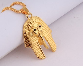 18K gold plated Vintage Egyptian pharaoh Head Pendant Necklace