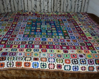 large blanket crochet multicolored hand knit wool granny