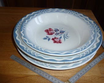 """3 assorted dishes vintage SARREGUEMINES DIGOIN FRANCE model """"Marinette"""" decoration Rose flower"""