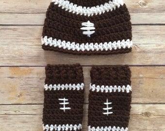 Crochet Football hat and leg warmer set - newborn photo prop - 0 to 3 months - infant - crochet photo prop - football beanie - sports fans