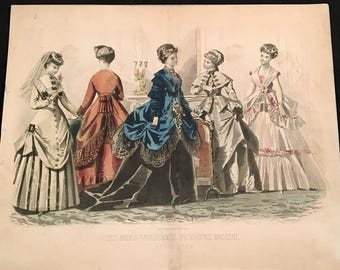 1869 French Fashion Print, Hand-Colored Print by Illman Brothers, Peterson's Magazine Antique Print