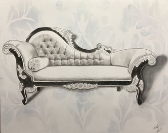 Hand Stained Vintage Fainting Couch / Chaise Artwork