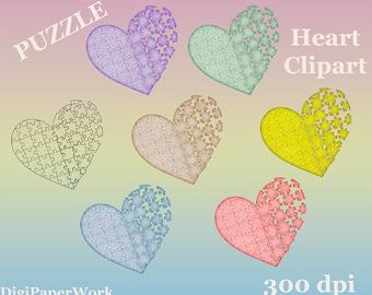 Puzzle Heart clip art heart Valentine Clip Art Pastel Heart Download Digital clipart  scrapbooking