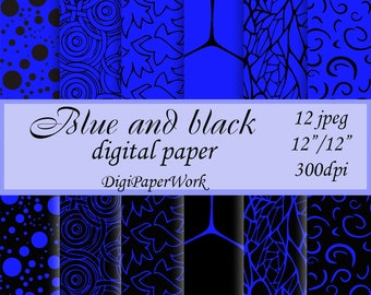 Blue and Black Digital Paper, scrapbooking, black and Blue background, Instant download, Blue and Black pattern Personal and Commercial Use
