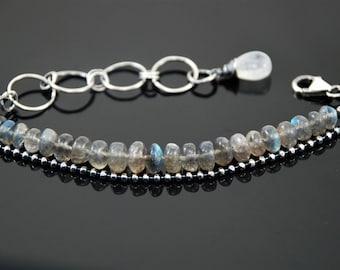 Silver bracelet Artisan bracelet handmade jewelry Labradorite jewelry