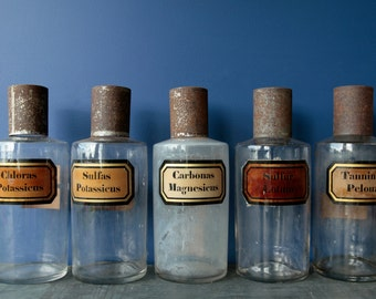 Large Antique French Apothecary Chemical Chemistry Glass Bottles. Pharmacy, chemist jar. Sulfas Potassicus.