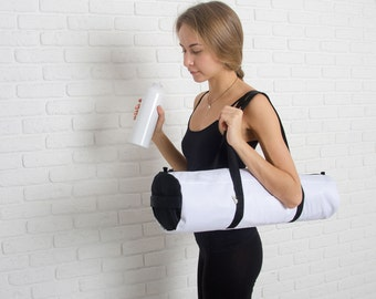 White Foyo pretty waterproof yoga mat bag, minimalism / Free Shipping