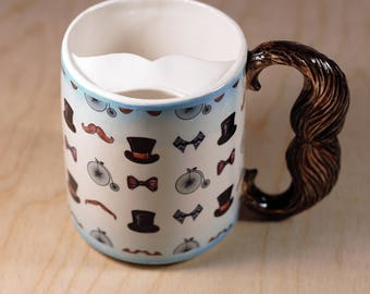 "Moustache cup ""Hipster"" of porcelain"