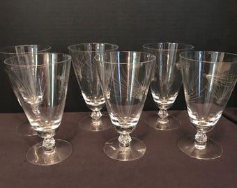 Fostoria Crystal Set of 6 Etched Ice Tea Glasses