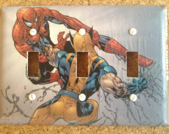 Wolverine Spider-Man Light Switch Cover Switchplate Decoupage Marvel Comic Book