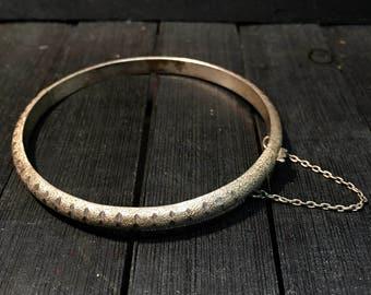 Vintage Sterling Silver Textured Bracelet   #155