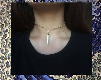 Mother of pearl Horn chain necklace / Collana corno madreperla