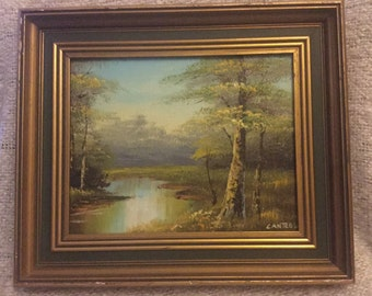 Phillip Canttell American artist woodland landscape oil painting mid 20th century.