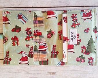 Santa Crayon roll,Christmas coloring kit,Crayon storage,Stocking stuffer