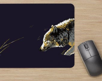 Mouse pad, wolf in the snow, walking wolf, drawing of wolf in snow, painting of wolf in snow, image of wolf in snow, illustration of wolf