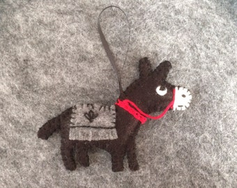 Little Donkey stuffed ornament