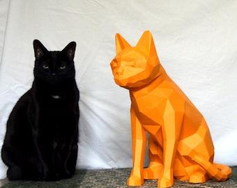 Cat Model Paper Trophy Low Poly 3D Origami Papercraft Faux Taxidermy Printable Template PDF DIY Sculpture Kitten Decor Feline