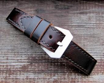 Dark brown premium watch band vintage style 24 mm.