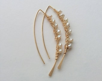 14K Gold Filled Earrings,Open Hoop Earrings, Minimalist Earrings, Modern Earrings, Threader Earrings, Thin Dainty Earrings, Pearl Earrings.