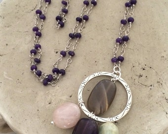 Long Necklace, Purple Jade Wired Chain, Gemstone Dangles