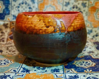 HANDMADE CERAMIC BOWL - fire red and chocolate brown