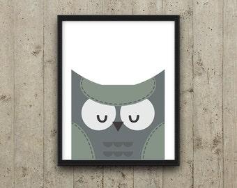 Kids Wall Art, Printable Nursery Decor, Kids Room Decor, Owl Nursery Art, Animal Nursery Print, Instant download