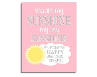 CANVAS Baby Girl Nursery Art Pink Yellow You Are My Sunshine Prints Baby Boy Baby Girl Gender Neutral Baby Nursery Decor CUSTOMIZE COLORS