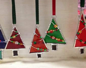 Stained glass Christmas tree decoration hanging / suncatcher