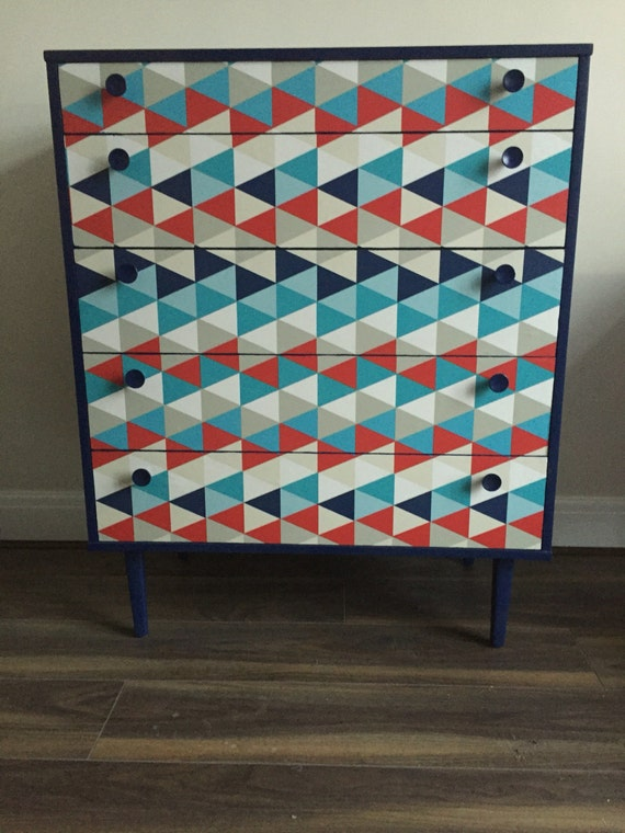 Upcycled spray painted retro chest of drawers