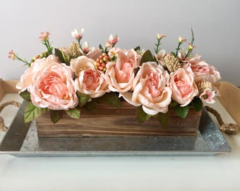 Pink/Coral Rose Centerpiece, Rose Centerpiece, Rustic Centerpiece, Floral Centerpiece, Wedding Centerpiece