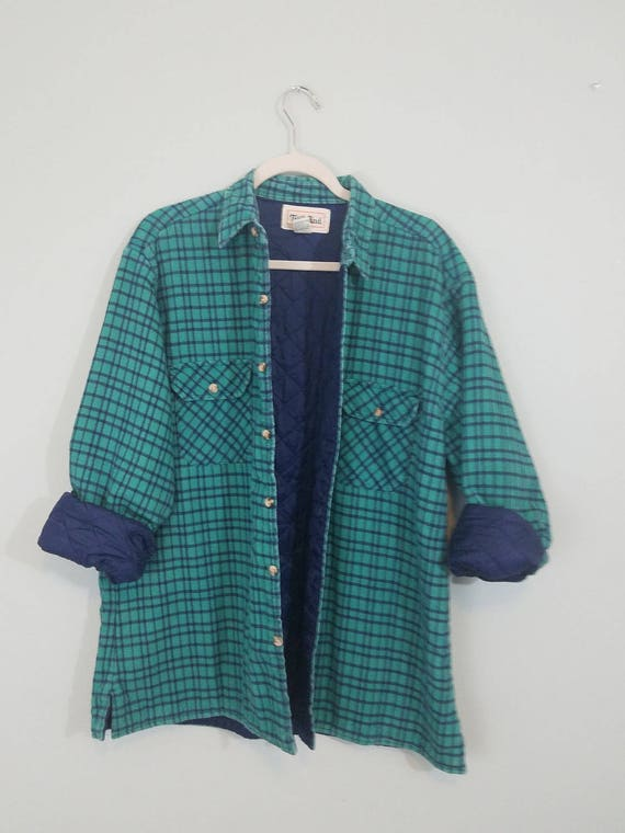 1980s Lined Flannel / Green and Blue Heavy Weight Shirt / Grunge Button Down / Modern Size Extra Large