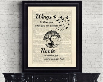 Wings To Show You What You Can Become Roots To You Where You Are From Quirky Dictionary Page Instant Download Wall Art Print