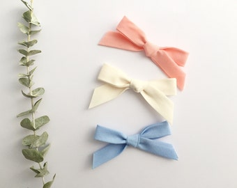 Headbands for baby / child - curls knotted fabric - rose coral, cream, sky blue or the complete trio