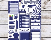 Dk Blue Essentials Stickers for your Erin Condren Planner, Happy Planner, Lime Life Planner, SMC inserts, {1413 Dk Blue Essentials}