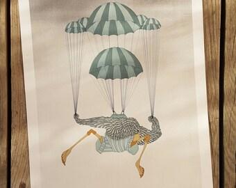 """Lithograph after the """"Parachute"""" Jean-Paul Griffoulière Atelier Bellini vintage artwork"""