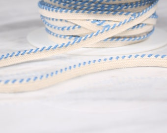 5 m of 6mm, cotton tape, broken and blue, white (4585)