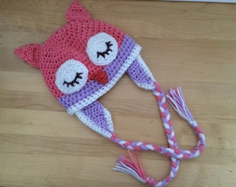 Crochet sleepy owl hat, newborn hat, pink and purple owl winter hat