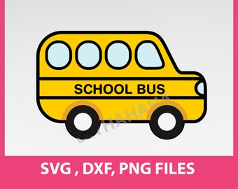 """Instant Download, school bus, SVG, DXF, PNG Formats,  8.5x11"""" sheet,  Printable 0044"""