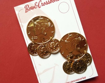 Vintage coin stud earrings - novelty drop earrings, rockabilly, vlv, liberty, kitsch, pin up