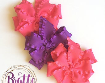 Double stacked pinwheel ruffle hair bows - hair bows for girls - ruffle bows - baby hair bows - stacked boutique bows - toddler bows