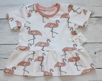 girls peplum top,girl tunic top,baby peplum top,girls organic cotton,girl pink flamingo,pink flamingo top,toddler peplum top,pink flamingo