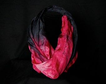 "Infinity scarf- Hand dyed 100% silk infinity scarf-""Fire Red and Black"""