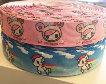 "1 yard 7/8"" Anime Unicorno or Donutella TokiDoki Kawaii Grosgrain Ribbon - Bow Making-Grosgrain Ribbon - 22 mm Toki Doki"
