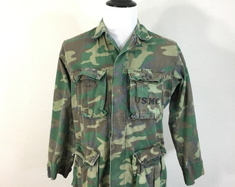 60's military camouflage rip stop jangle fatigue jacket with usmc stencil