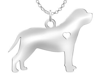 Mastiff Necklace | Solid Sterling Silver | Mastiff Silhouette Charm | Personalized Dog Jewelry | Dog Pendant | Mastiff Earrings