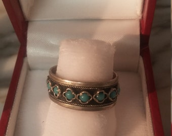 1930s Sterling Silver Ring with Small Turquoise Cabachons and open back